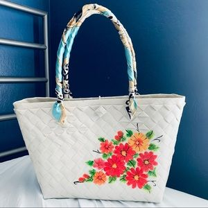 NEW Summer Beach Woven Floral White Tote Bag